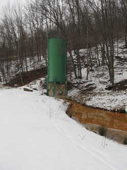 Lime Silo and Settling Pond